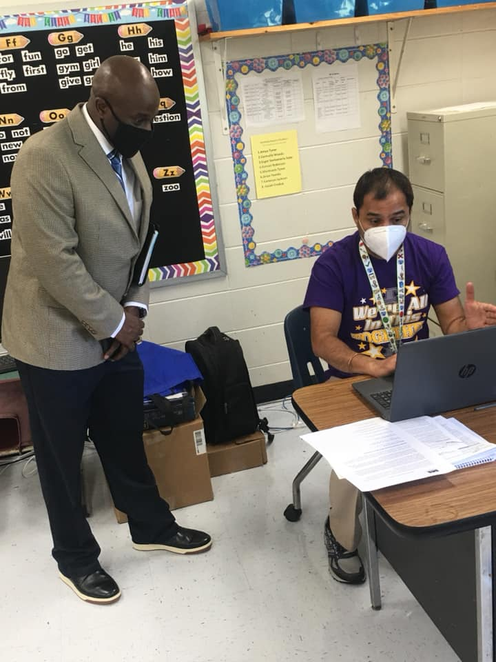 Mr. Walter Knigton, Associate Superintendent and Mr. Venkateshwarlu Chukka, teacher at Sumter County Elementary School