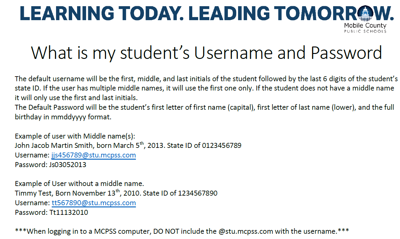 student username and password