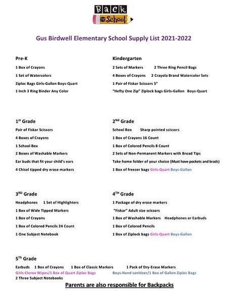 2021-2022 elem supply list