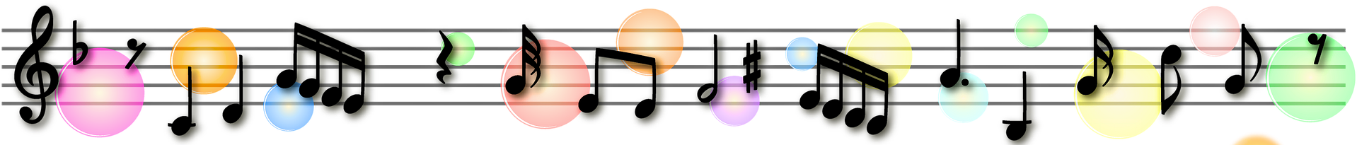 music notes with colored bubbles