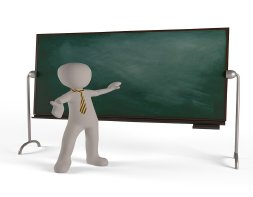 Chalk board with figure wearing a tie pointing at the chalkboard