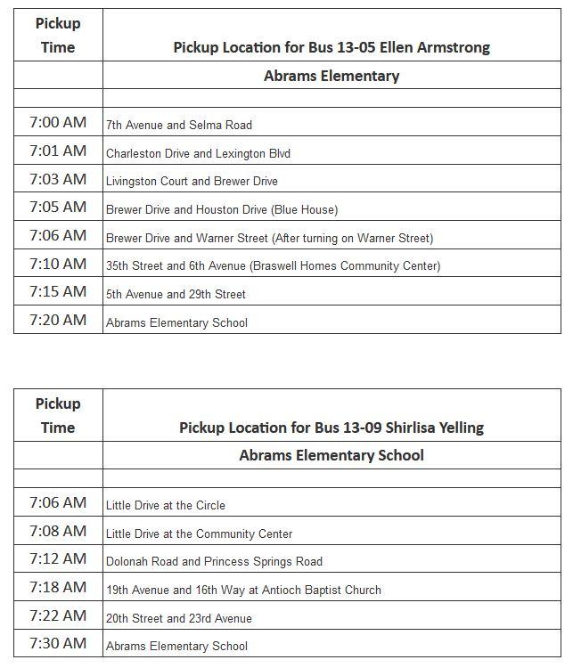 Abrams Bus Schedule