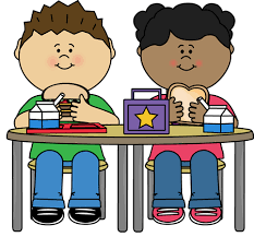 two children eating lunch together cartoon drawing