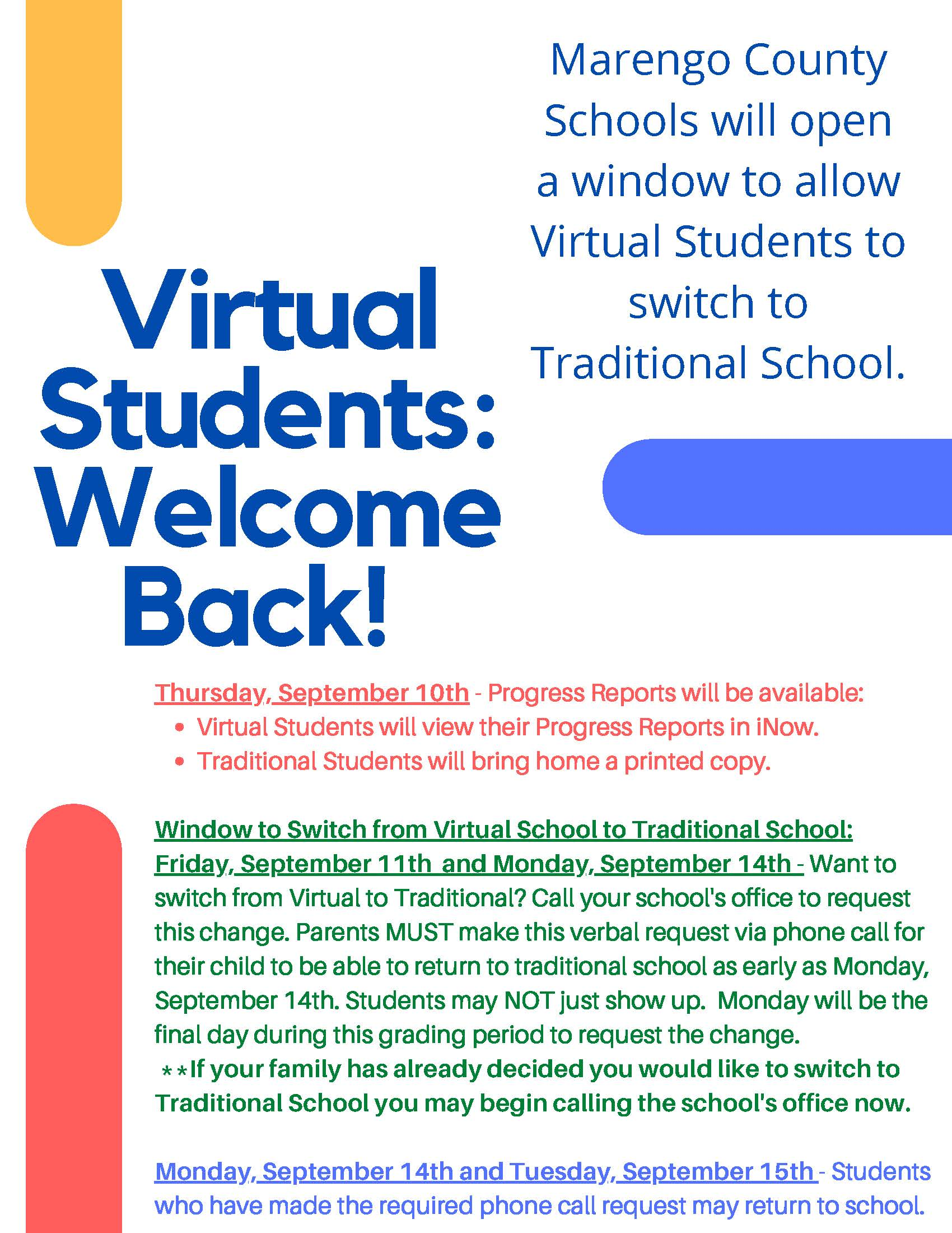 virtual students welcome back flyer