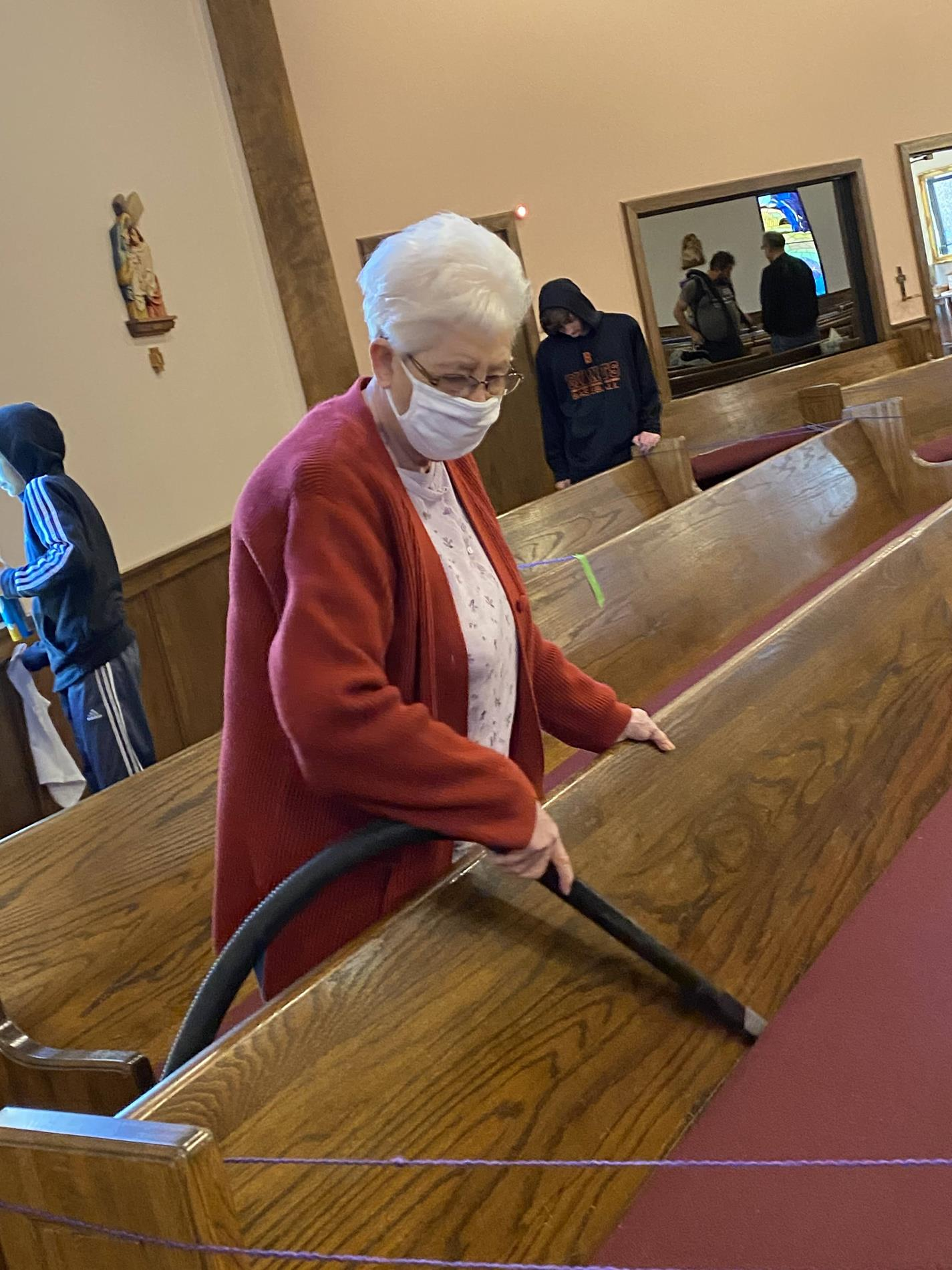 Faithful to cleaning those pews every year