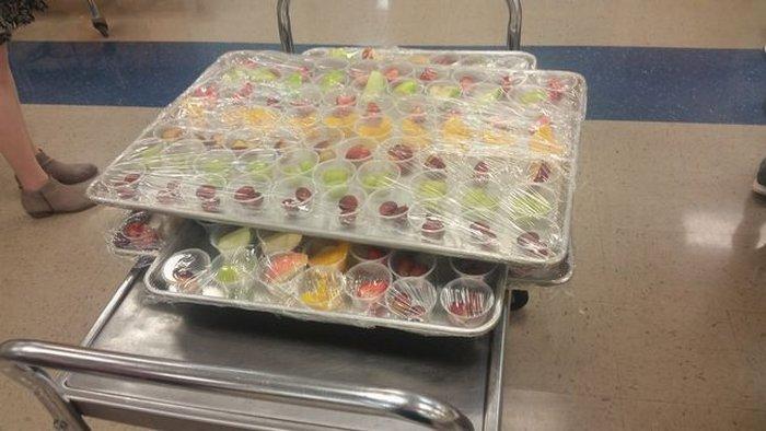Fresh fruit and vegetable samples.