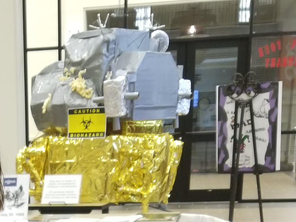 The completed Lunar Module Build on display at the entrance to the library
