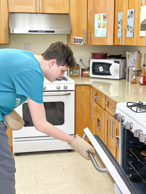 boy baking cake