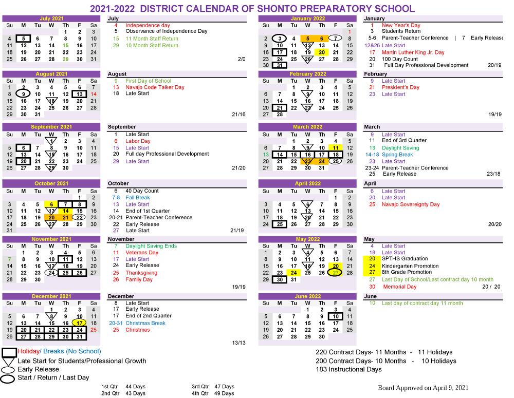 21 22 SY Calendar