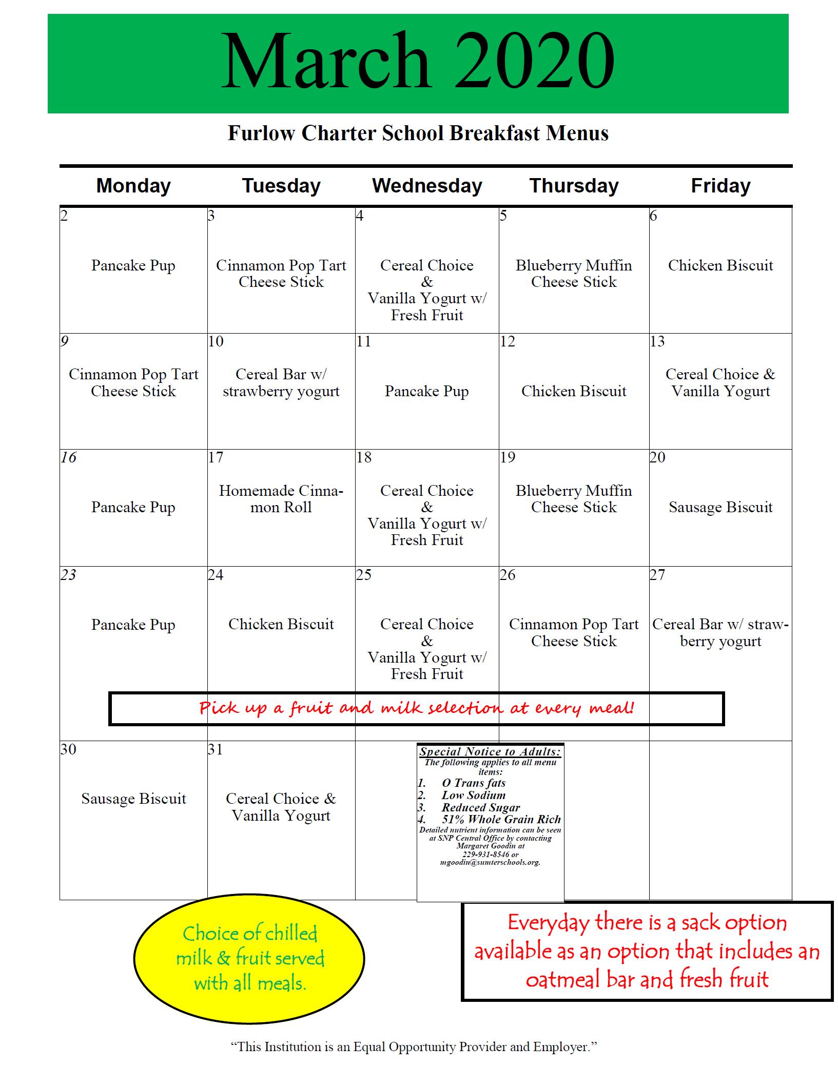 March 2020 School Breakfast Menu
