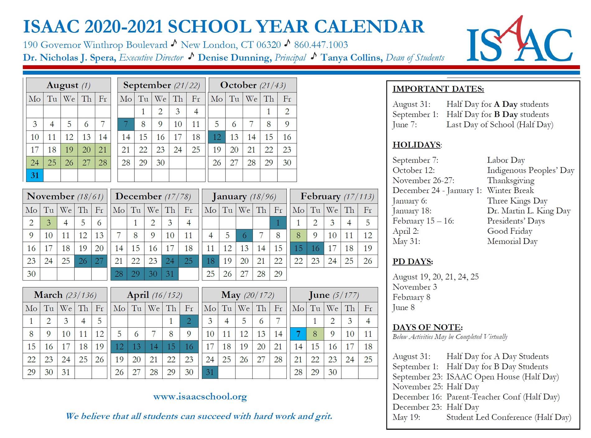 ISAAC Calendar 2020-2021