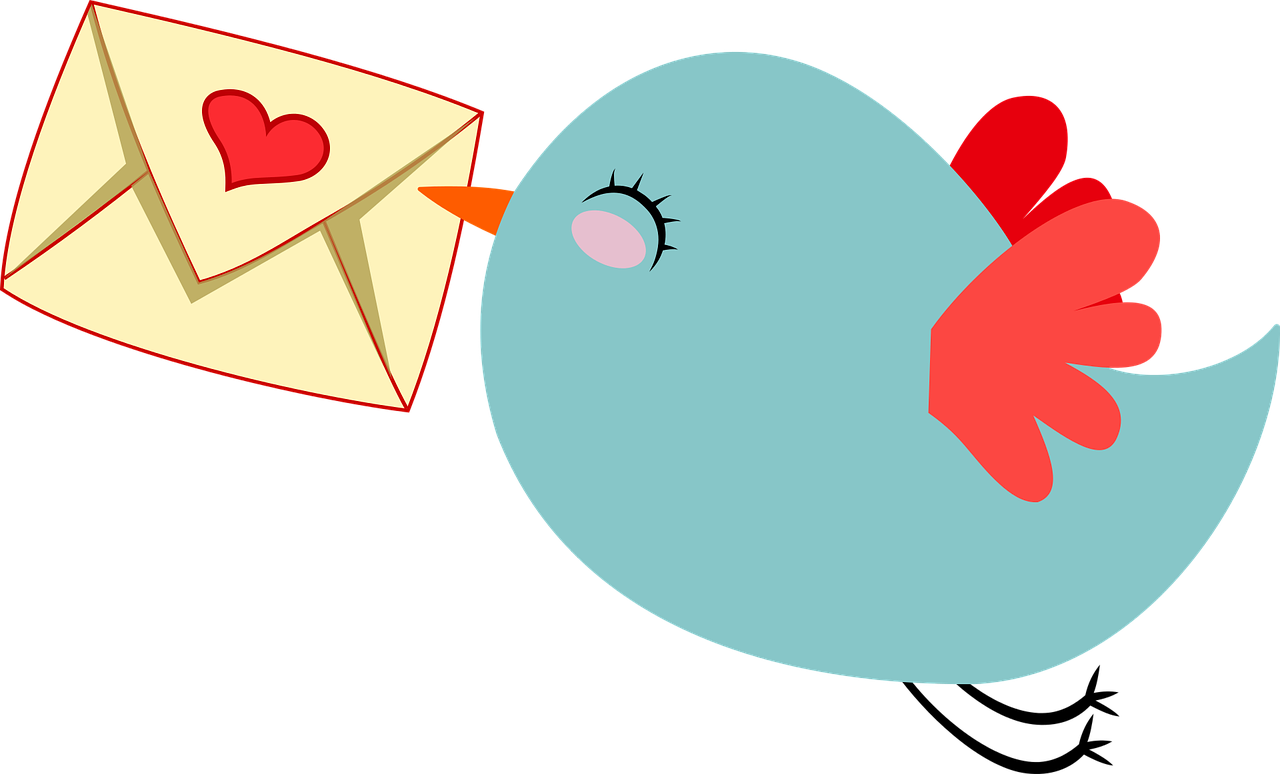 cute bird flying with letter with a heart shaped seal