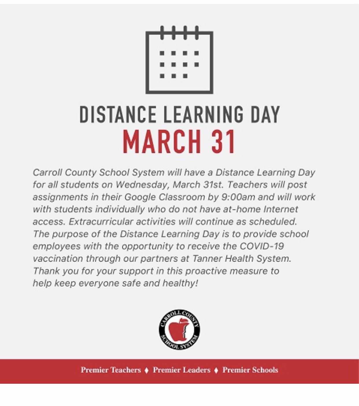 Distance Learning Message