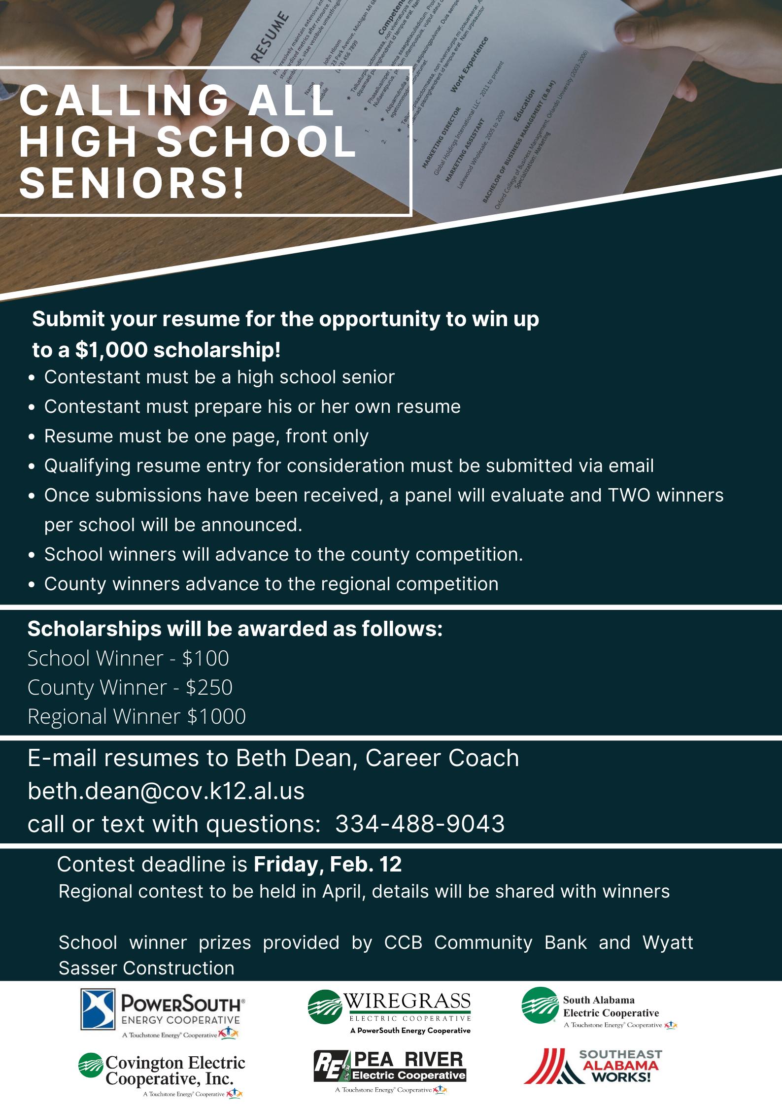 Resume contest for Seniors