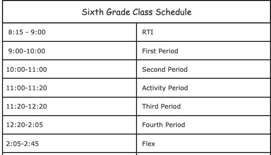 sixth grade class schedule