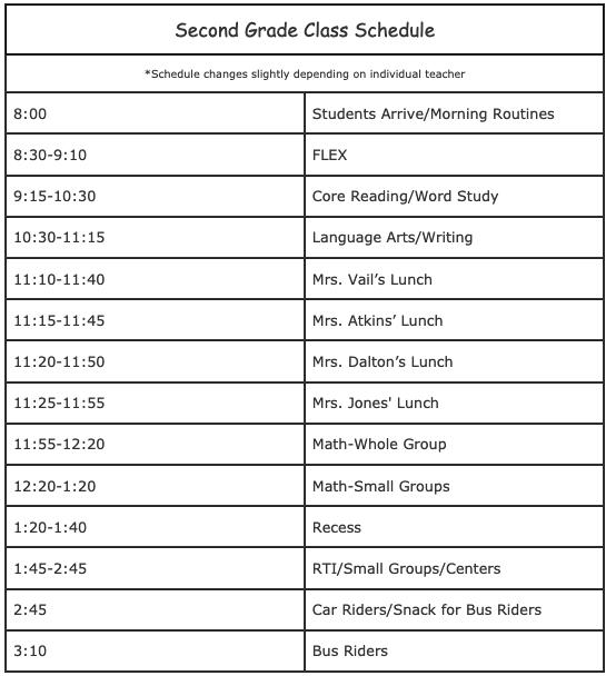 Second Grade Class Schedule