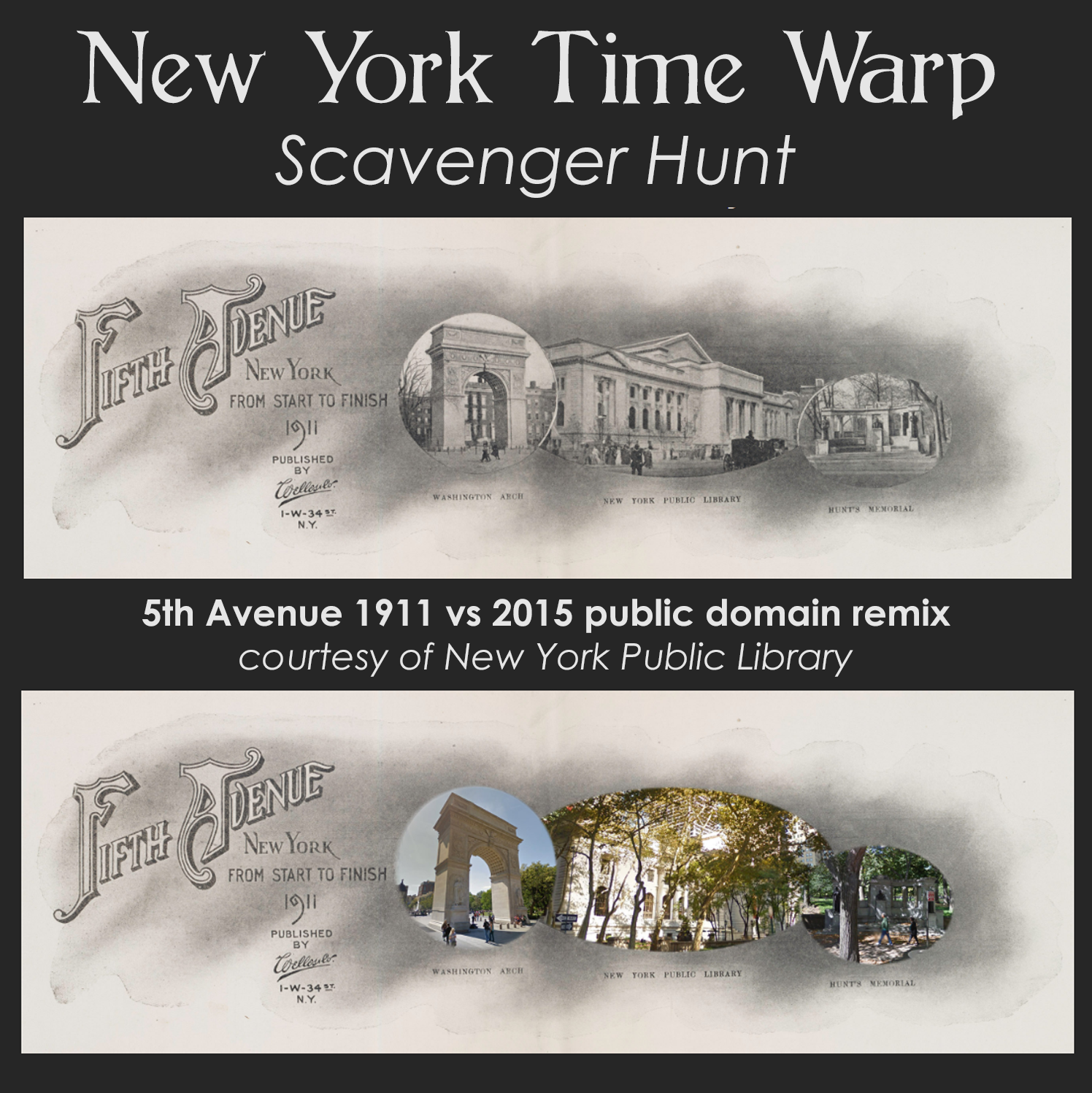 New York Public Library 5th Avenue public domain remix time warp scavenger hunt