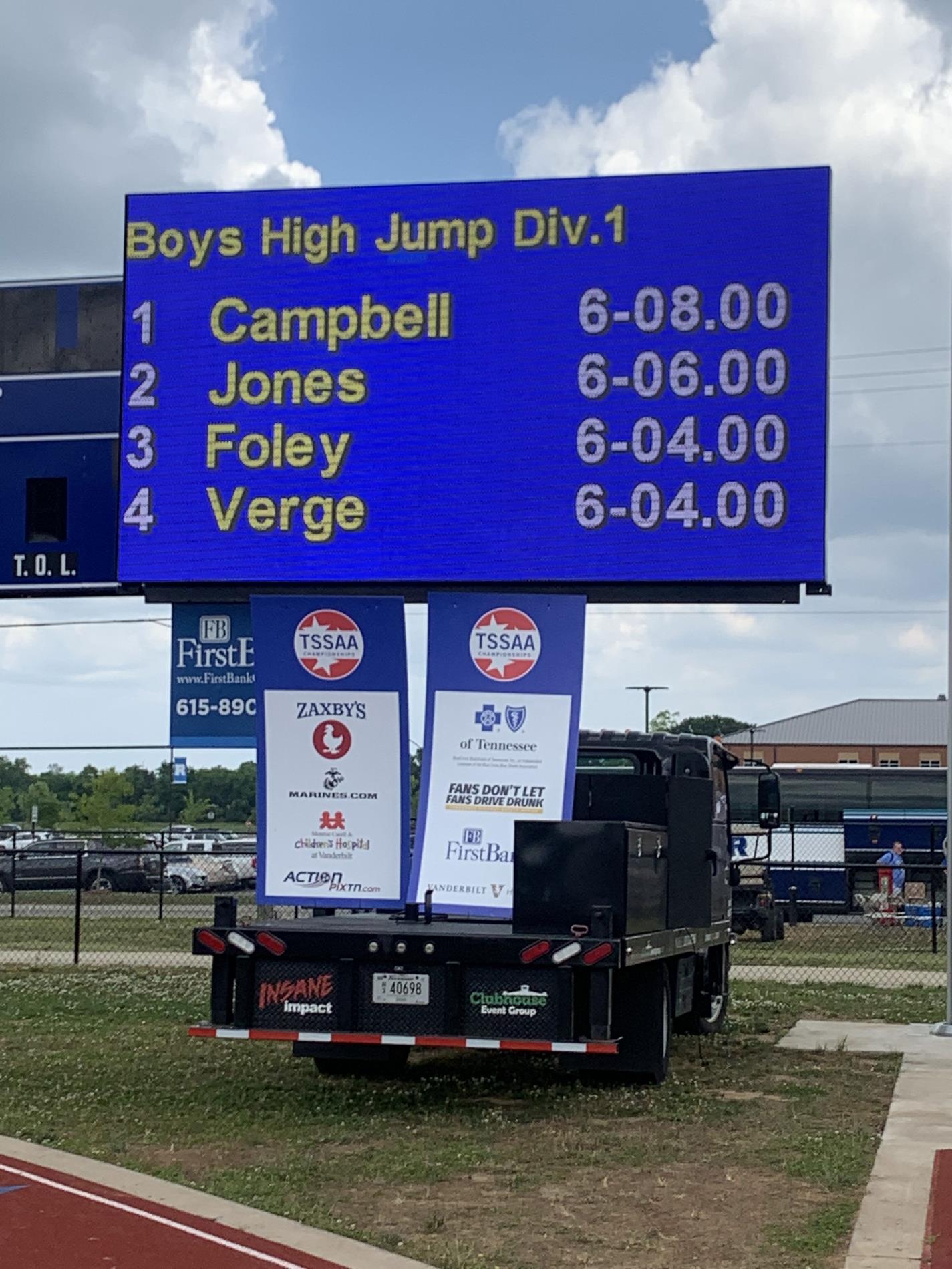 Boys High Jump Division 1
