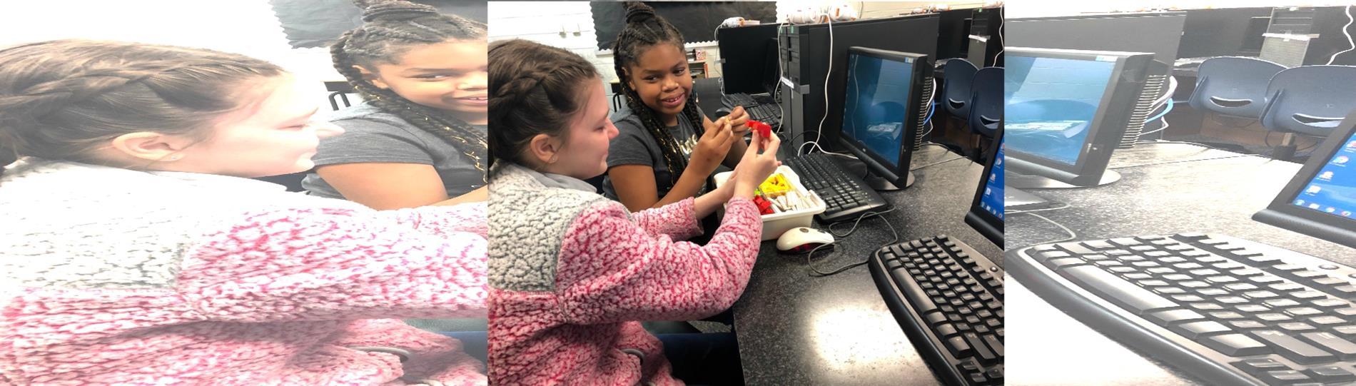 Kids working with legos robotics