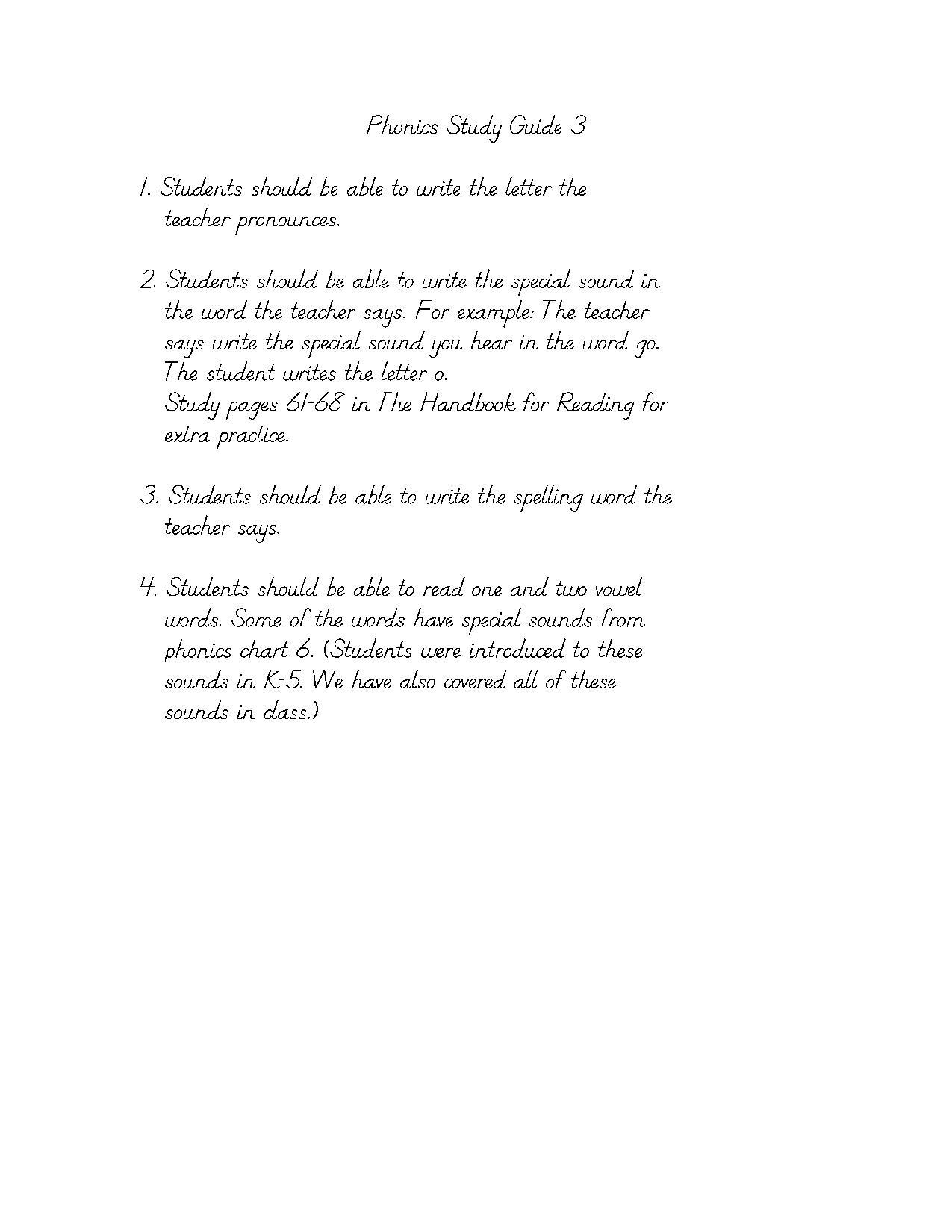 Phonics Study Guide 3