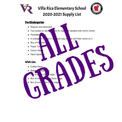 PreK-5th Grade School Supply List