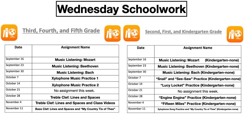Wednesday Schoolwork