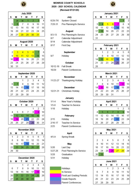 Revised 2020-2021 School Year Calendar