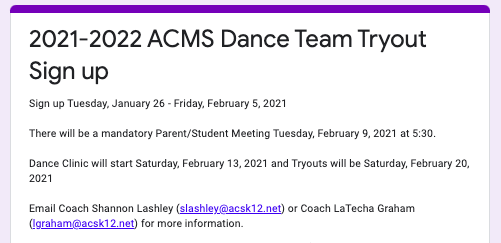 Dance Team Tryout Sign Up