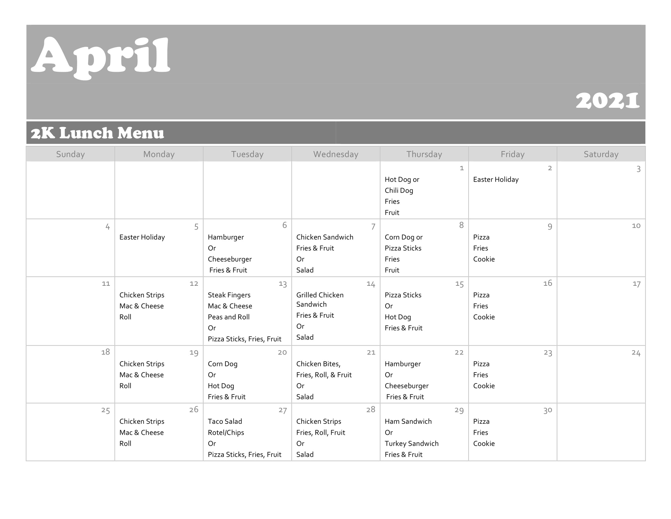 April Lunch Menu - 2K