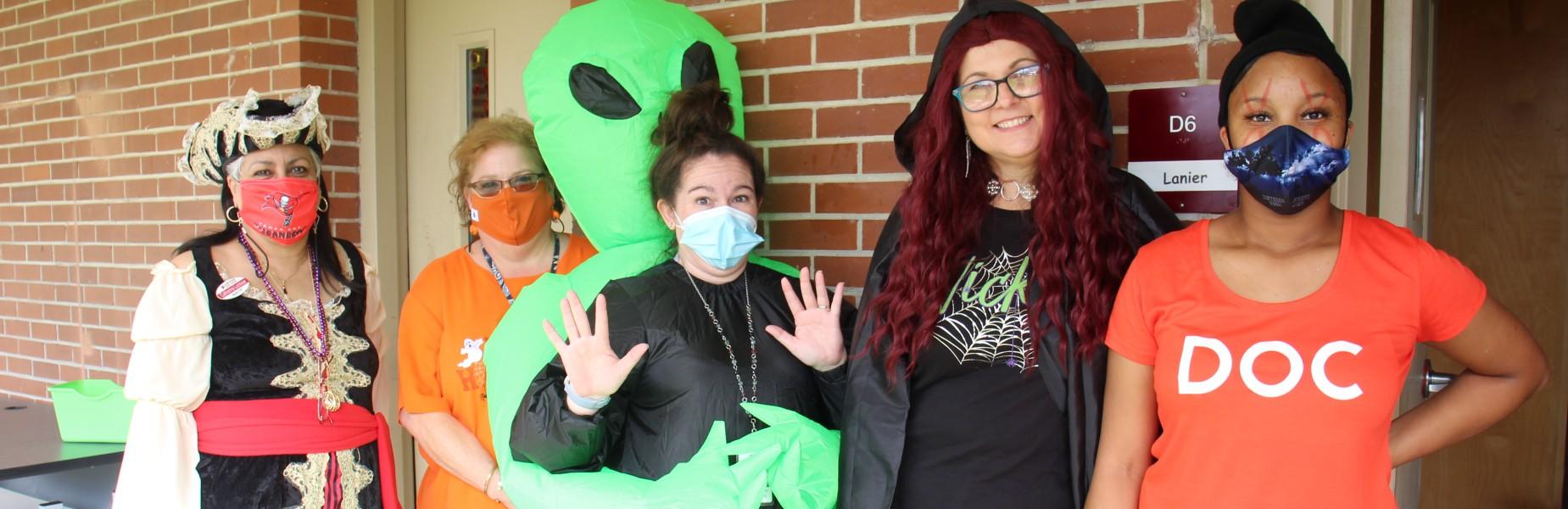 Teachers dressed up for Halloween