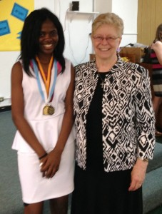 Amaria Simmons, pictured here with Sr. Dianne Rumschlag, was awarded the Townsend Scholarship and the Sisters of Notre Dame Distinguished Graduate Award
