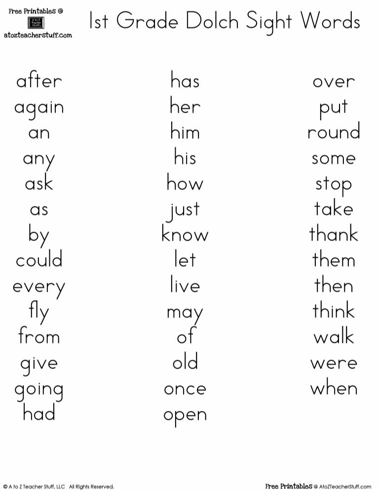 Grade 1 Sight Words