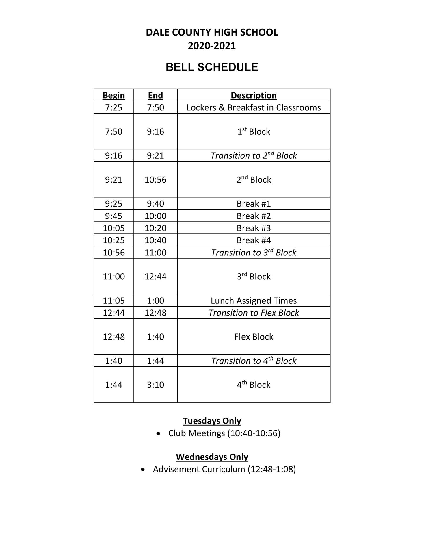 the bell schedule.
