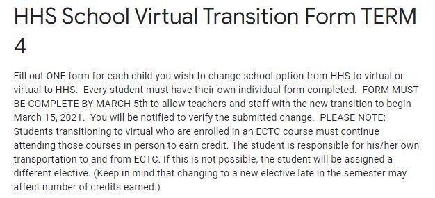 Virtual Transition Form