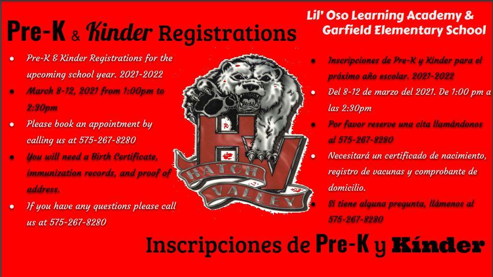 PreK and Kinder Registration