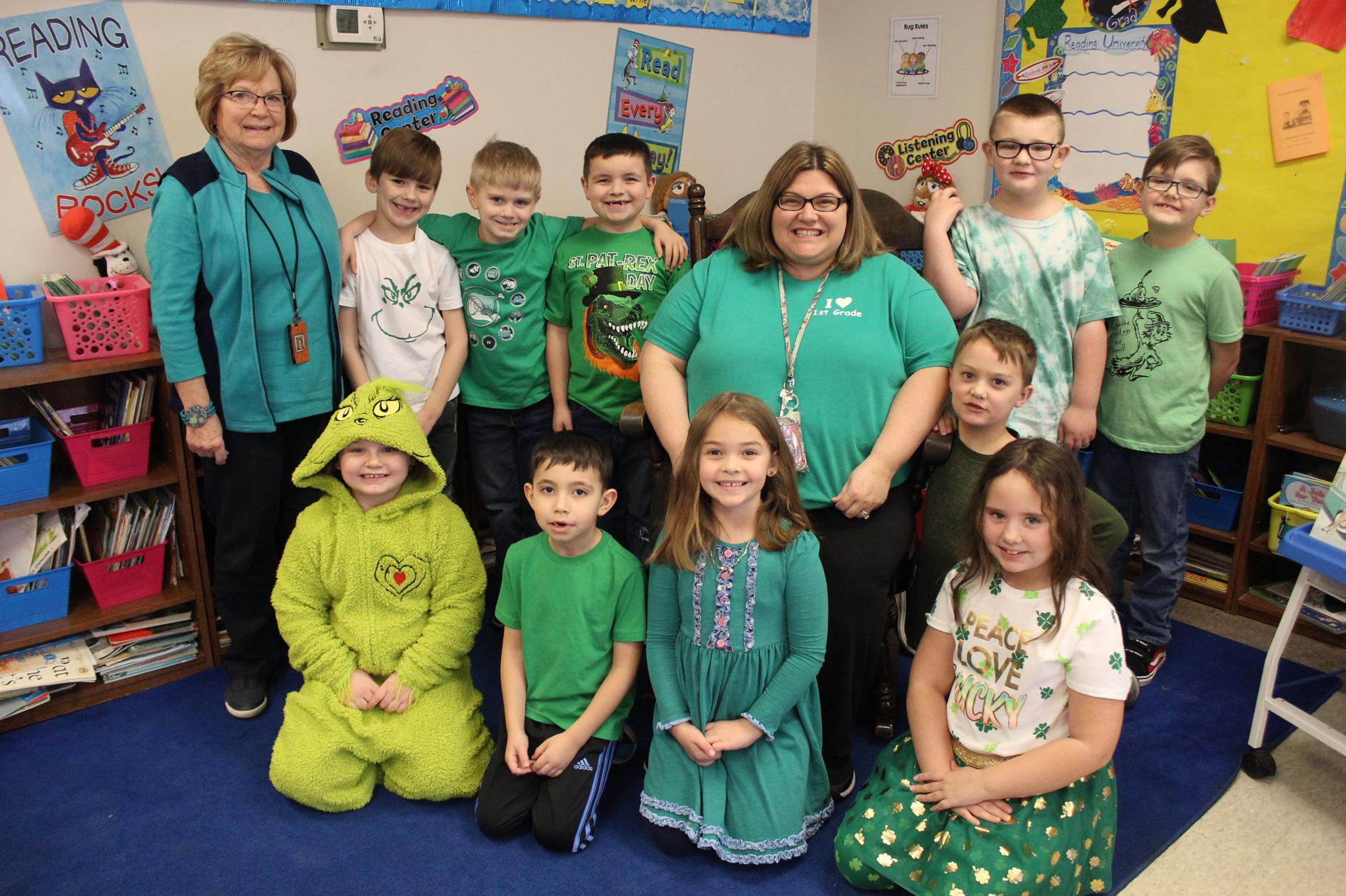 1st graders dressed in green during Read Across America Week