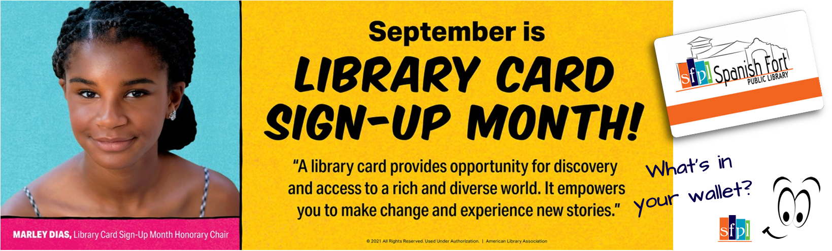 Marley Dias, 16 year old author and host of the NETFLIX series BOOKMARKS is the American Library Association's 2021 National Library Card Sign Up Month official spokesperson