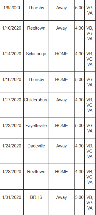 Basketball VG Schedule