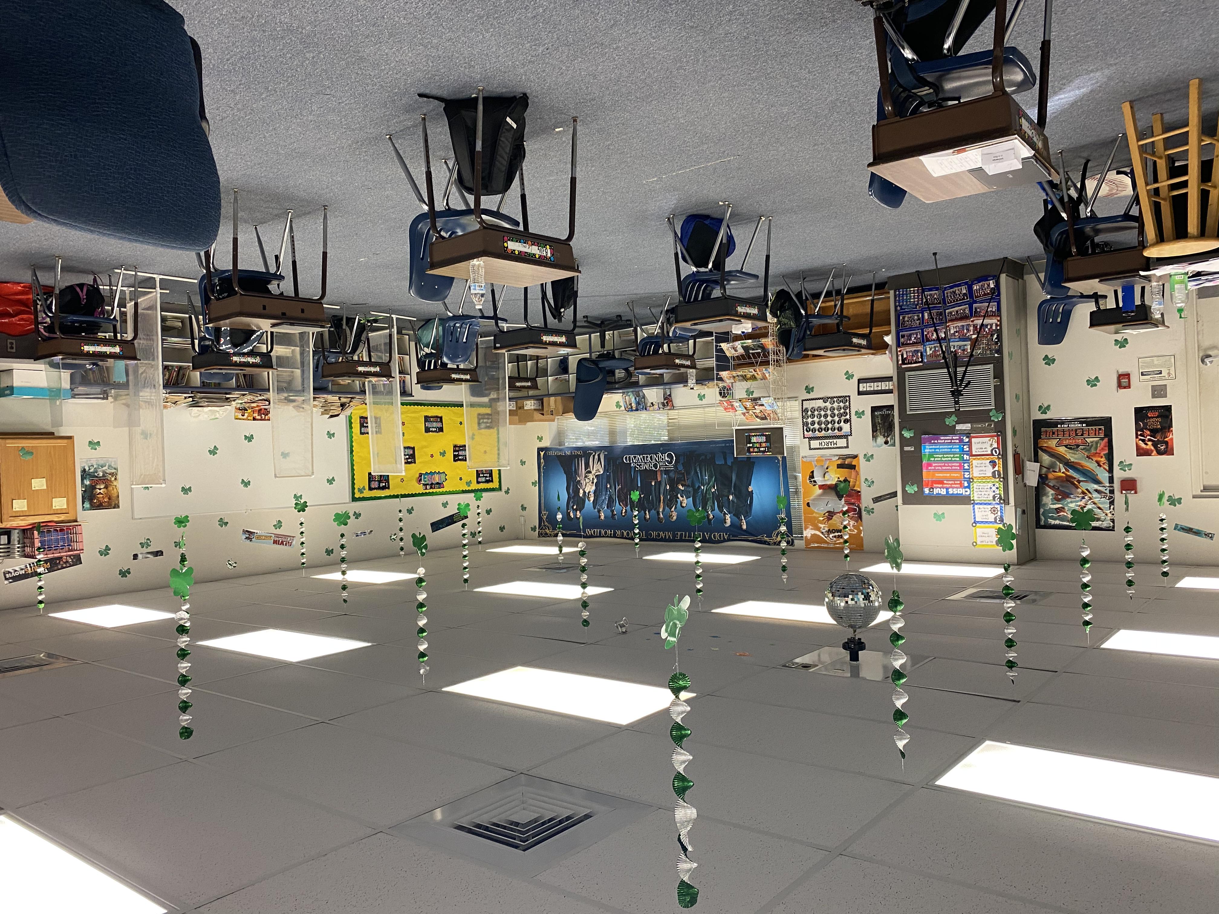 Mr. Brwener's room after the leprechaun left the Escape room challenge.