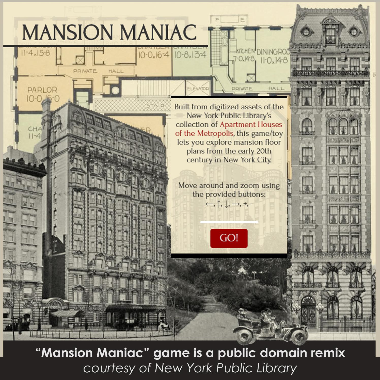 New York Public Library Mansion Maniac public domain remix game