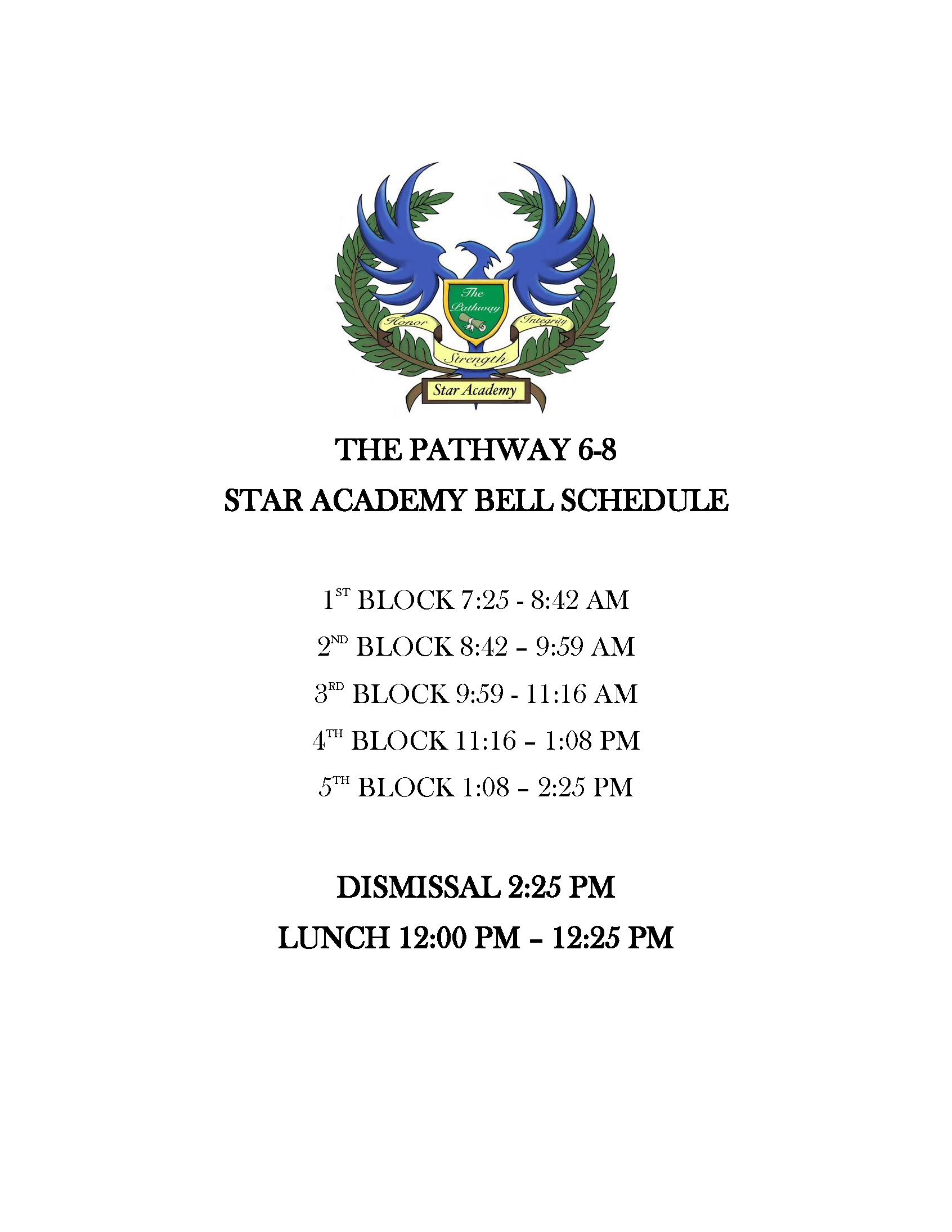 Star Academy schedule