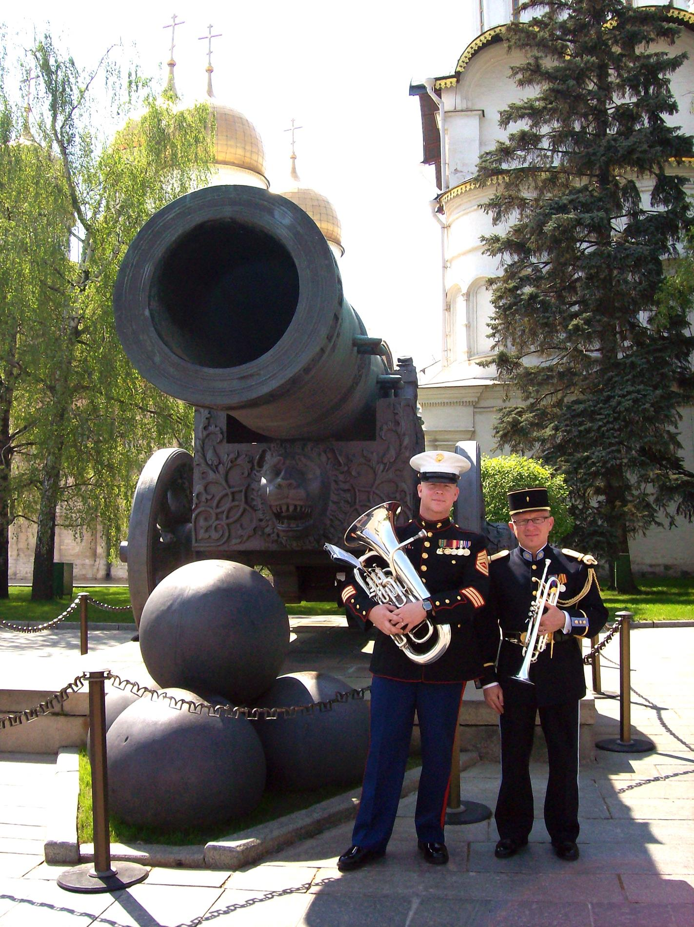The Czar's Cannon inside the Kremlin, in Moscow. We did large performances with Russian, French, and English bands in celebration of the 70th anniversary of Moscow's Liberation during WWII. This is a good friend from the French Ground Band.