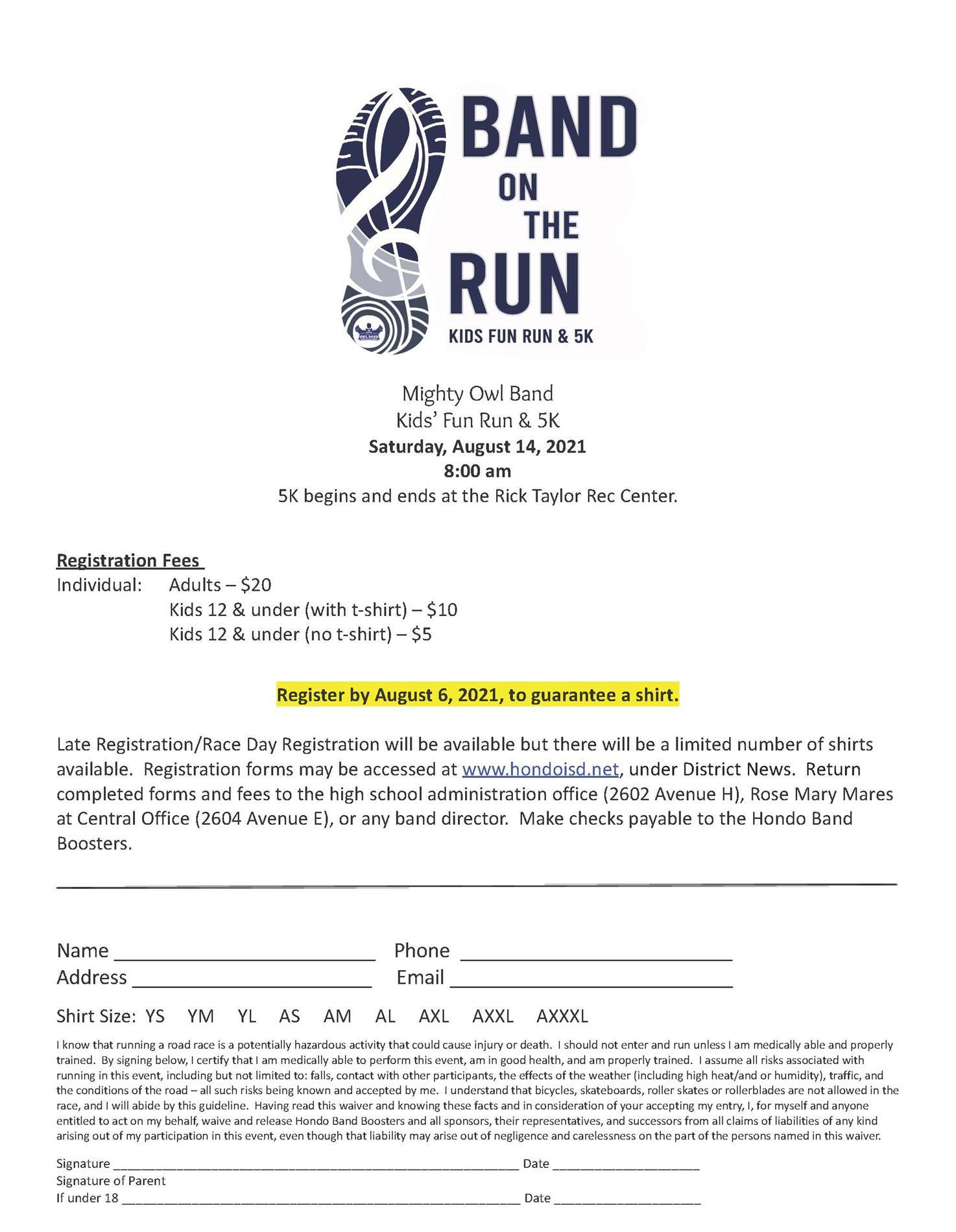 Band 5K Registration Form