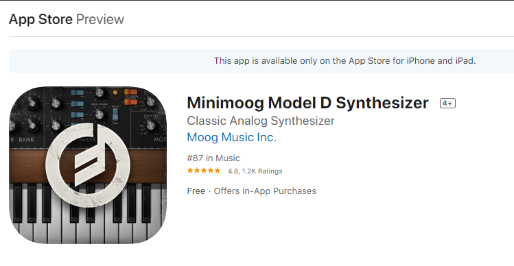 Get the Minimoog app for IOS only free for a limited time. Click here to be taken to the Apple App Store.