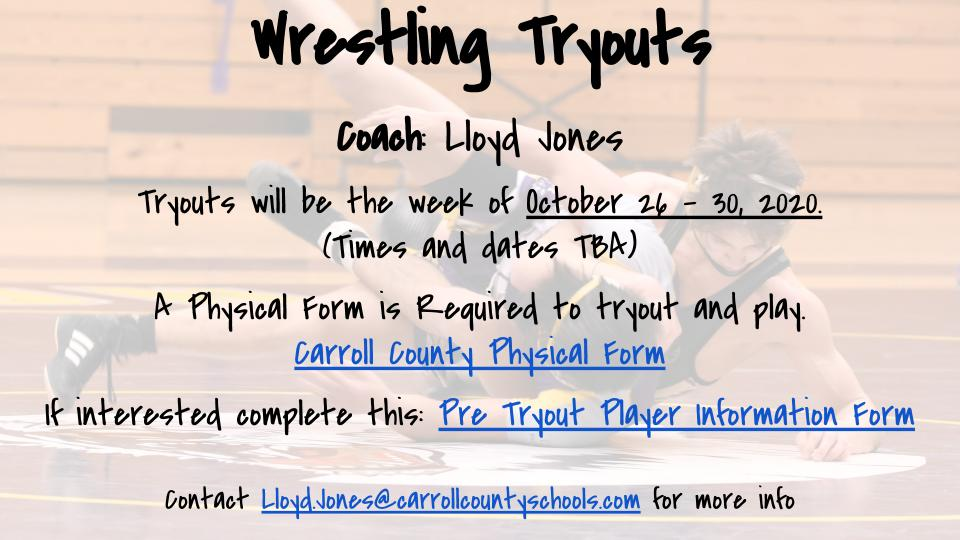 Wrestling Pre Tryout Information