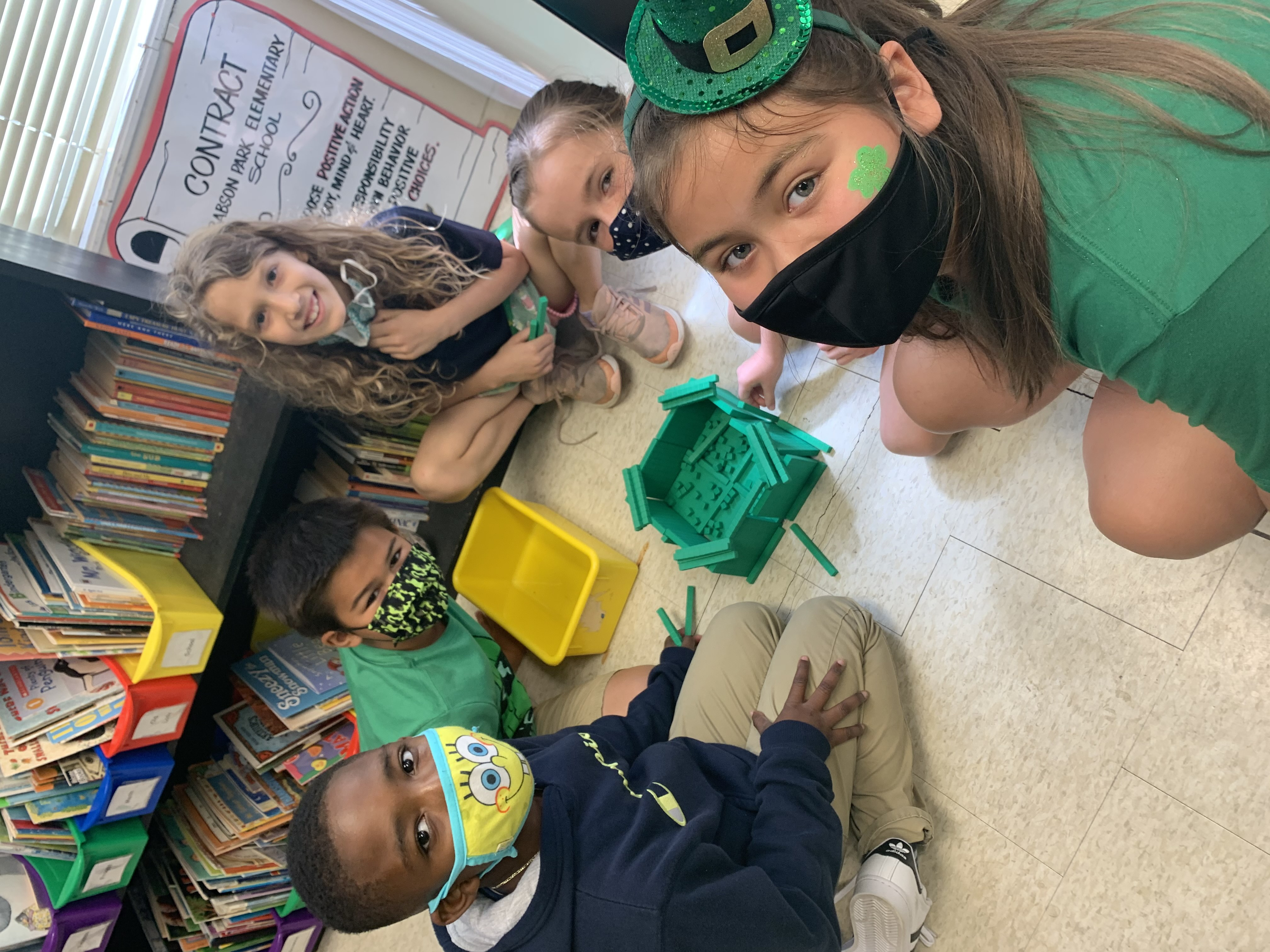 Students setting up their traps on Tuesday to catch the leprechaun.