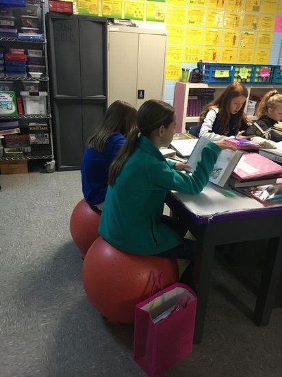 Student using Stability Ball