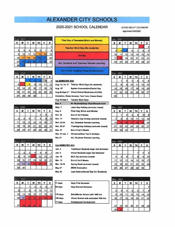2020-2021 Amended Calendar