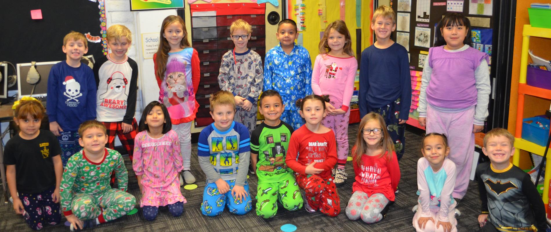 pictures of students in their pajamas for Pajama Day