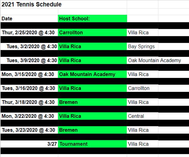 Tennis Schedule 2021